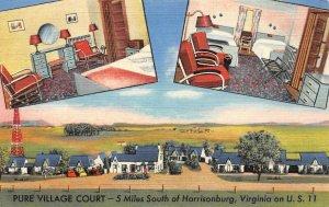 LP76 Harrisonburg  Virginia Postcard Roadside Pure Village Court U.S.11