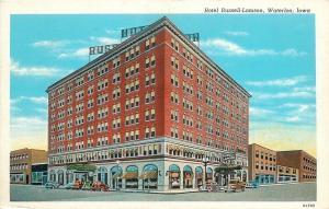 Waterloo Iowa~Hotel Russell-Lamson~City Block~Stores~1938 Linen Postcard