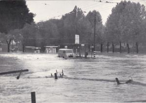 FIRENZE, Toscana, Italy, 1960´s; Flood, Piazza Francesco Ferrucci