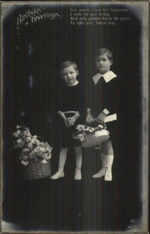 Fadeaway Effect Trick Photography Little Boys & Flowers Real Photo Postcard