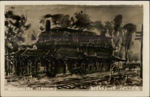 Artist Rendidtion - Bennington Station - Bernadine Custer Real Photo Postcard