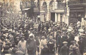 Busy French Street Scene Store Fronts Real Photo Postcard