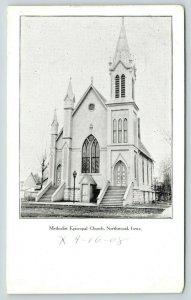 Northwood Iowa~Methodist Episcopal ME Church~1908 B&W Postcard