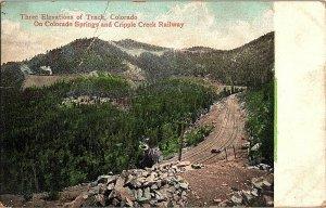 3 Elevations of Track Cripple Creek Railway Vintage Postcard Standard View Card
