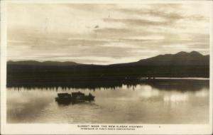 New Alaska HWY Highway Sunset Real Photo Postcard