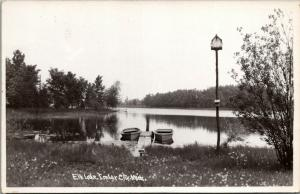 Imlay City Michigan~Elk Lake~Rowboats Teathered to Dock~Birdhouse~1950s RPPC