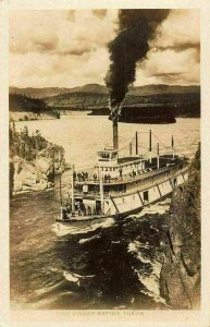 Canada Five Finger Rapids Yukon Boat River real photo Postcard