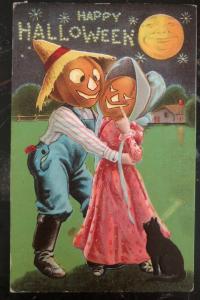 Mint Vintage USA Picture Postcard PPC  A Happy Halloween Pumpkin Couple