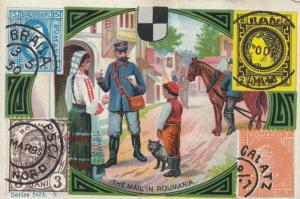 TC: The Mail in ROMANIA , Mail Man & Stamps , 1880-90s