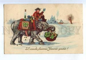 206812 NEW YEAR Santa Claus on ELEPHANT Vintage postcard