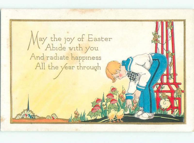 Divided-Back CHILDREN AT EASTER SCENE Great Postcard AA1735