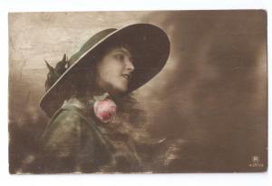 Beautiful Woman Glamour Rotophot 1914 Tinted Hat Pretty Lady