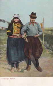 Couple Dressed In Typical Costumes, Marken (North Holland), Netherlands, 1900...