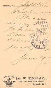 Newark NJ~Jno W Reddall & Co~Sterling Silver Co~Ship My Bells~1901 Postal