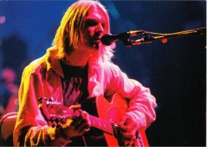 Nirvana Kurt Cobain in Concert with Acoustic Guitar Postcard