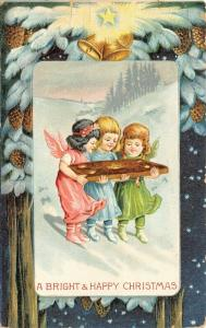 Christmas Fantasy~3 Lil Angel Girls Carry Big Cookie~Pink Blue Green~Pine Cones