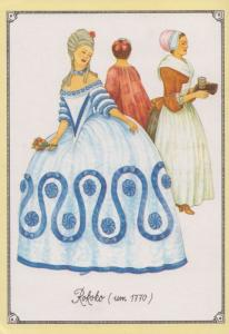 Spatrokoko 1770 Rokoko Fan Dress Ladies Fashion Costume German Germany Postcard