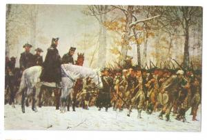 Washington Reviewing Troops Valley Forge W.L. Trego Postcard