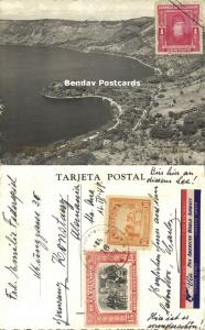 el salvador, C.A., Lago de Coatepeque, Los Anteojos 1948 Studio Light RPPC, PAN