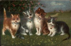4 Multi-Colored Kitty Cats w/Big Eyes c1910 Postcard ARTIST?