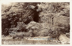 1957 Appalachia Virginia Real Photo Postcard: Short Bee Rock Railroad Tunnel