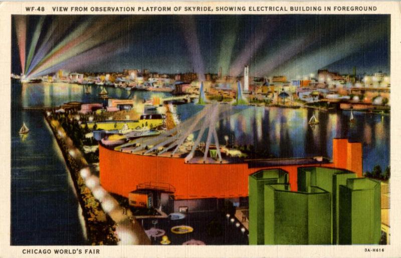 IL - Chicago. 1933 World's Fair-Century of Progress. Night View from Skyride