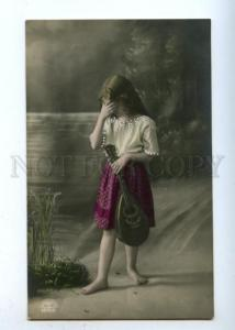 177632 LONG HAIR Crying Gipsy Girl MANDOLIN Vintage PHOTO PC
