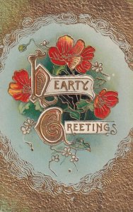 HEARTY GREETINGS, Gold details & Pansies, PU-1910