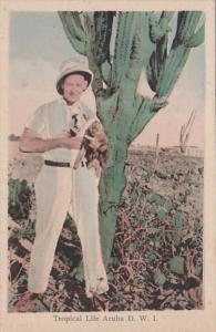 Aruba Man Holding Monkey Tropical Life