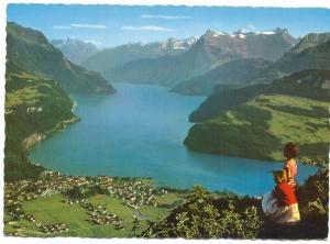 Switzerland, Brunnen, am Vierwaldstattersee, mit Bristen und Urirotstock