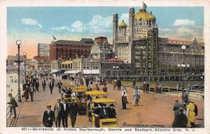 Boardwalk at Hotels Marlborough &  Dennis, Atlantic City, Early Postcard, Unused
