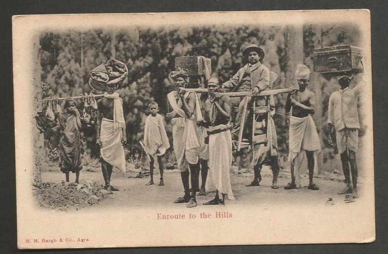 India vintage postcard ENROUTE TO THE HILLS