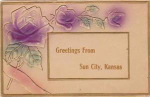 Embossed purple roses, Greetings From Sun City, Kansas, PU-1911