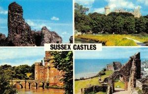 Vintage 1980 Sussex Castles Multi View Postcard GS9