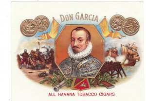 HI1058  INNER CIGARBOX LABEL DON GARCIA, SPANISH NOBLE MILITARY BATTLES