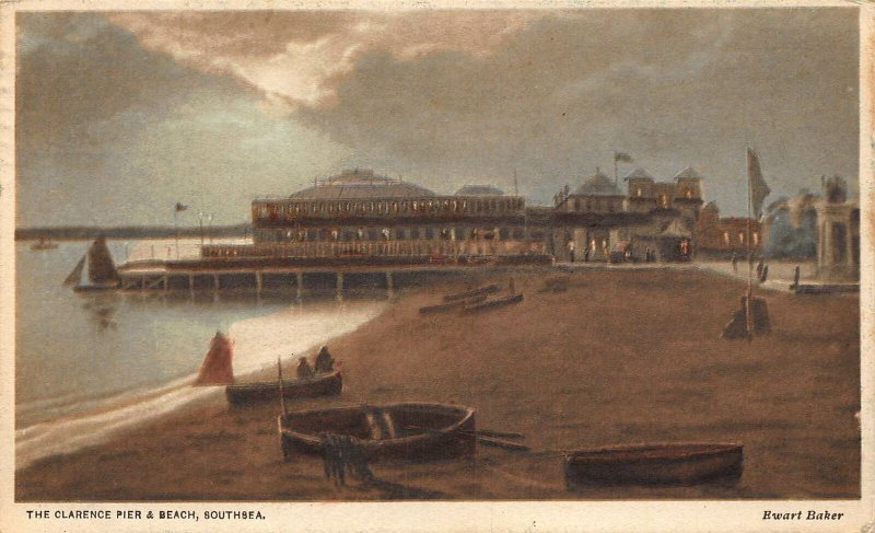 Southsea The Clarence Pier and Beach Postcard