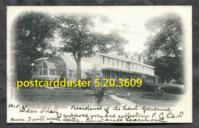 3609 - SPENCERWOOD Quebec 1905 Postcard to England