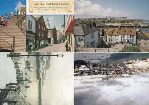 Whitby Church Steps at Christmas Snow History 4x Postcard s