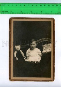 254752 RUSSIA child white TEDDY BEAR 1919 year CABINET PHOTO
