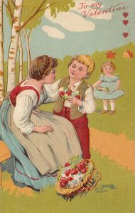 VALENTINE'S DAY, 1900-10s; Mother and children, Flowers, PFB 5987