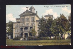 FLINT MICHIGAN SCHOOL FOR THE DEAF ANTIQUE VINTAGE POSTCARD CADILLAC MICH.
