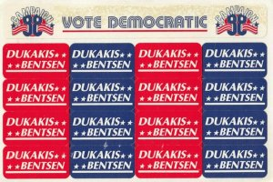 RP, DUKAKIS for President 1988 Stickers Postcard