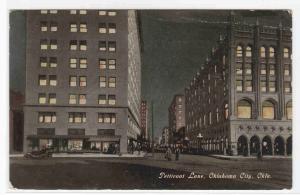 Petticoat Lane Street Scene at Night Oklahoma City OK 1911 postcard