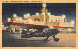 LP65  Cleveland Ohio Aviation  Postcard   Night Municipal Airport Airplane