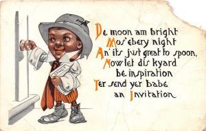 E18/ Black Americana Postcard c1910 Candy Boy Door De Moon am Bright! 29