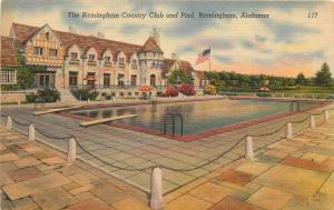 Linen Postcard; Birmingham Country Club & Pool, Birmingham AL Unposted