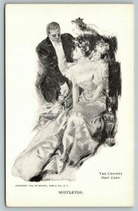 Howard Chandler Christy~Mistletoe~Lovely Lady & Gent at Christmas~1905 B&W PC