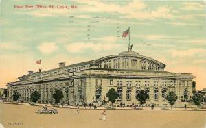 St Louis Missouri~New Post Office~Lady in Street~1914 Artist Drawing Postcard