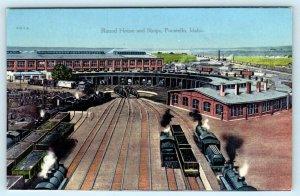 POCATELLO, Idaho ID ~ Trains ROUND HOUSE & SHOPS c1910s Railroad Postcard