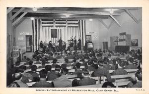 Camp Grant IL~WWII Army Post~Band Plays Rec Hall~Pinball Machine~Juke~1940s B&W